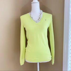 Tommy Hilfiger v-neck sweater neon pima Xs